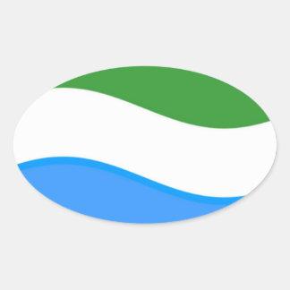 Bandera del Sierra Leone que agita Pegatina Ovalada