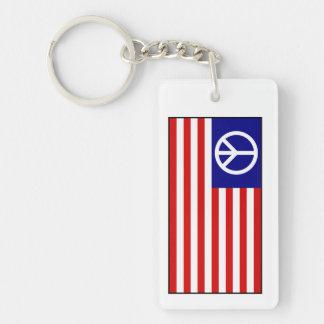 Bandera del signo de la paz de los E.E.U.U. Llavero Rectangular Acrílico A Doble Cara
