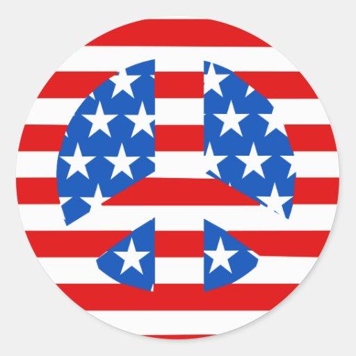 Bandera del signo de la paz etiquetas redondas