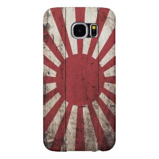 Bandera del sol naciente de Japón en grano de Fundas Samsung Galaxy S6