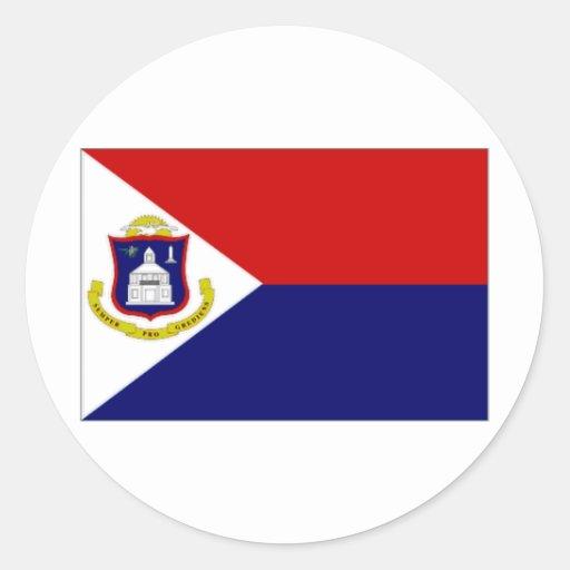 Bandera del St Maarten de Antillas holandesas Pegatina Redonda
