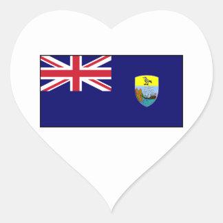 Bandera del St Santa Helena Calcomanía De Corazón