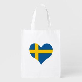Bandera del sueco en fondo del metal bolsa reutilizable