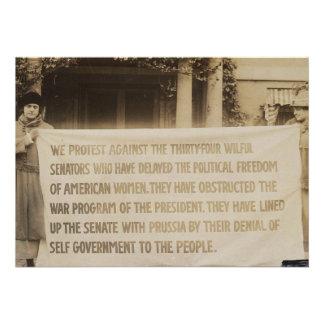 Bandera del sufragio de las mujeres en dc 1918 de comunicados