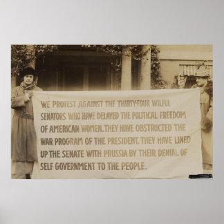 Bandera del sufragio de las mujeres en dc 1918 de  póster