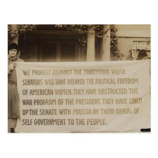 Bandera del sufragio de las mujeres en dc 1918 de postal