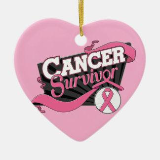 Bandera del superviviente del cáncer de pecho adorno de reyes
