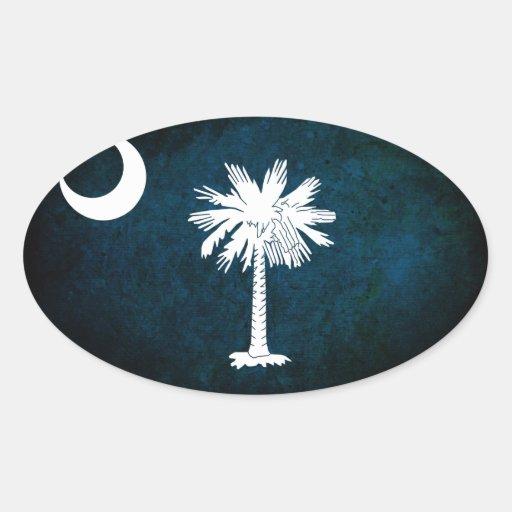 Bandera del sur de Carolinan; Calcomanías Ovales Personalizadas