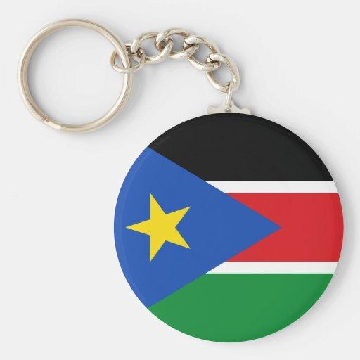 bandera del sur de Sudán Llavero Redondo Tipo Pin
