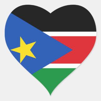 Bandera del sur de Sudán Calcomania De Corazon Personalizadas