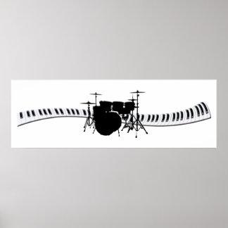 Bandera del teclado de los tambores y de piano póster