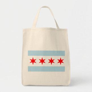 Bandera del tote orgánico del ultramarinos de bolsa tela para la compra