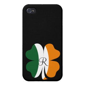 Bandera del trébol de la hoja de Irlanda con el mo iPhone 4 Carcasas