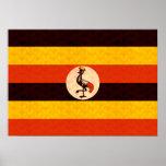 Bandera del Ugandan del modelo del vintage Poster