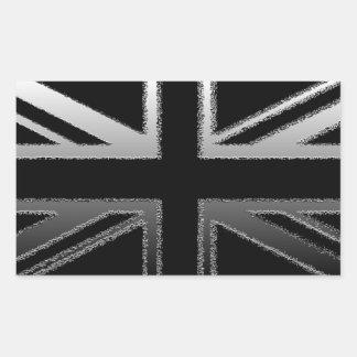 Bandera del Union Jack del gris negro y de plata Rectangular Pegatinas
