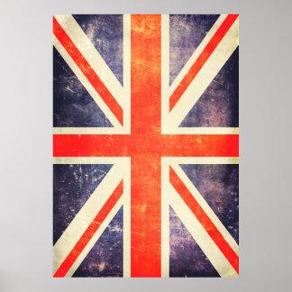 Bandera del Union Jack del vintage Póster