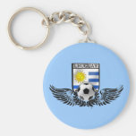 Bandera del Uruguayan del emblema del fútbol del f Llavero Redondo Tipo Pin