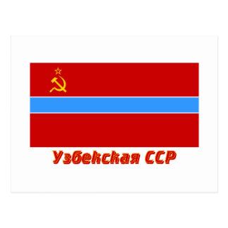 Bandera del Uzbek SSR con nombre Postal