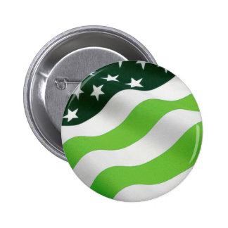 Bandera del verde (ecología) pin redondo de 2 pulgadas