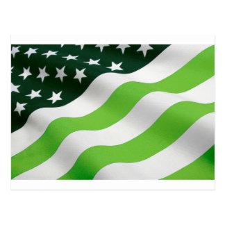 Bandera del verde (ecología) tarjeta postal