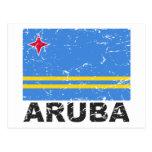 Bandera del vintage de Aruba Postal
