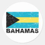 Bandera del vintage de Bahamas Pegatinas Redondas