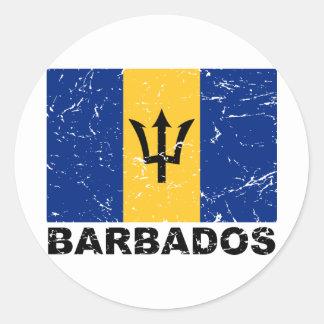 Bandera del vintage de Barbados Pegatinas Redondas