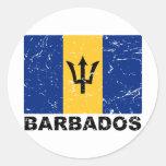 Bandera del vintage de Barbados Pegatina Redonda