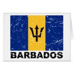 Bandera del vintage de Barbados Tarjeton