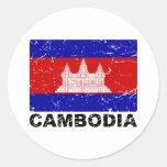Bandera del vintage de Camboya Etiqueta Redonda