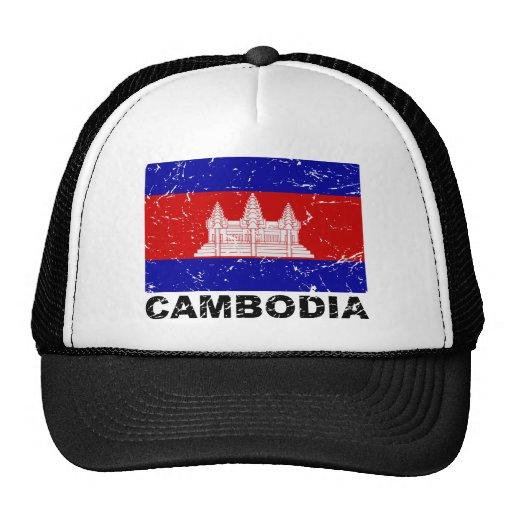 Bandera del vintage de Camboya Gorros Bordados