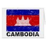 Bandera del vintage de Camboya Tarjeta
