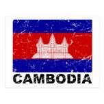Bandera del vintage de Camboya Tarjeta Postal