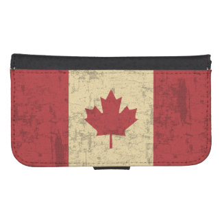 Bandera del vintage de Canadá apenada Billetera Para Galaxy S4