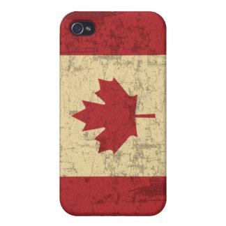 Bandera del vintage de Canadá apenada iPhone 4/4S Carcasas