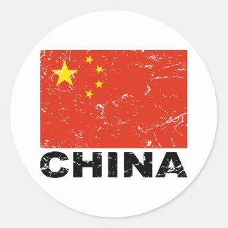 Bandera del vintage de China Pegatina Redonda