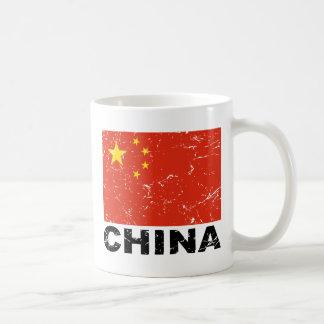 Bandera del vintage de China Taza Básica Blanca