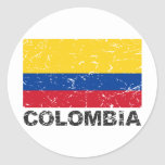 Bandera del vintage de Colombia Etiqueta Redonda