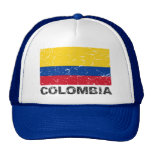 Bandera del vintage de Colombia Gorros