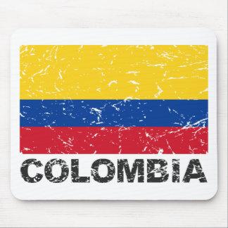 Bandera del vintage de Colombia Alfombrilla De Ratón