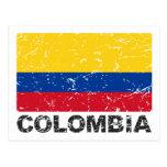 Bandera del vintage de Colombia Tarjeta Postal