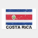 Bandera del vintage de Costa Rica Pegatina Rectangular