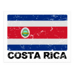 Bandera del vintage de Costa Rica Tarjeta Postal