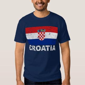 Bandera del vintage de Croacia Playera