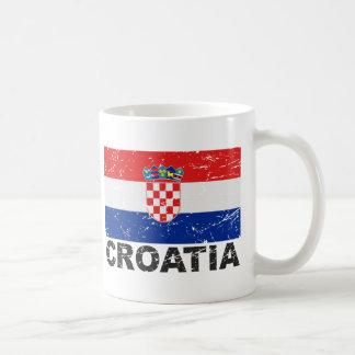 Bandera del vintage de Croacia Taza De Café