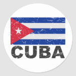 Bandera del vintage de Cuba Etiqueta Redonda