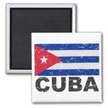 Bandera del vintage de Cuba Imán Cuadrado