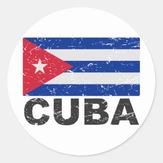 Bandera del vintage de Cuba Pegatina Redonda