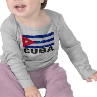 Bandera del vintage de Cuba Camisetas
