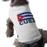 Bandera del vintage de Cuba Playera Sin Mangas Para Perro
